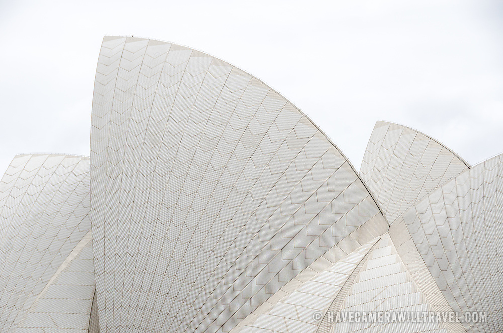 The distinctive sails of the roof of the Sydney Opera House, situated prominently in Sydney Harbour, Sydney, Australia.