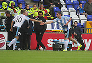 Dundee captain Kevin Thomson shoes hands with Jim McAlister after going off with a knock - Inverness Caledonian Thistle v Dundee, SPFL Premiership at Tulloch Caledonian Stadium<br /> <br />  - &copy; David Young - www.davidyoungphoto.co.uk - email: davidyoungphoto@gmail.com
