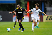 Liam Trotter (14) of AFC Wimbledon on the attack during the Pre-Season Friendly match between Aldershot Town and AFC Wimbledon at the EBB Stadium, Aldershot, England on 28 July 2017. Photo by Graham Hunt.