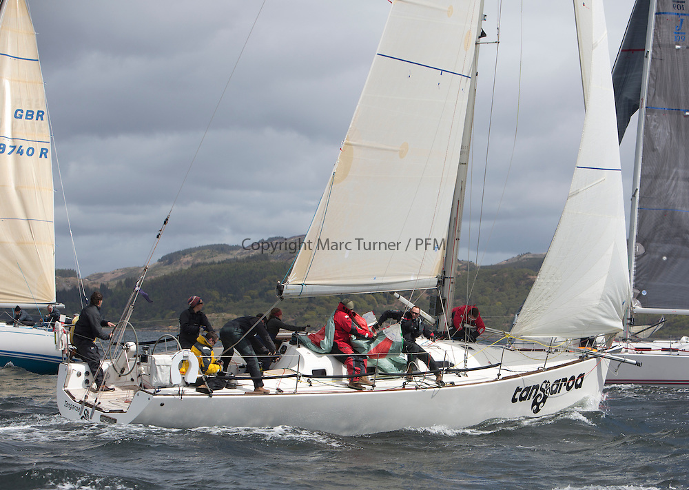 The third days racing at the  Silvers Marine Scottish Series 2015, organised by the  Clyde Cruising Club<br /> Based at Tarbert,  Loch Fyne from 22rd-24th May 2015<br /> <br /> GBR1121L, Tangaroa, Eliz &amp; Des Balmforth, CCC, Pronavia 38<br /> <br /> <br /> Credit : Marc Turner / CCC<br /> For further information contact<br /> Iain Hurrel<br /> Mobile : 07766 116451<br /> Email : info@marine.blast.com<br /> <br /> For a full list of Silvers Marine Scottish Series sponsors visit http://www.clyde.org/scottish-series/sponsors/