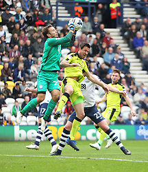 Chris Maxwell of Preston North End (L) in action - Mandatory by-line: Jack Phillips/JMP - 29/04/2017 - FOOTBALL - Deepdale - Preston, England - Preston North End v Rotherham United - Football League Championship