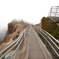 Steps to Lighthouse {hidden behind the fog,} Point Reyes, California