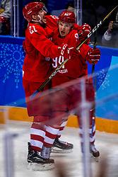 16-02-2018 KOR: Olympic Games day 7, PyeongChang<br /> Ice Hockey Russia (OAR) - Slovenia / forward Alexander Barabanov #94 of Olympic Athlete from Russia, forward Sergei Kalinin #21 of Olympic Athlete from Russia