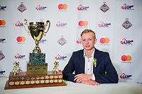 REGINA, SK - MAY 26: Sportsman of the Year Aleksi Heponiemi of the Swift Current Broncos at the Brandt Centre on May 26, 2018 in Regina, Canada. (Photo by Marissa Baecker/CHL Images)