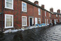 A flooded street in the village of Bridge, Kent , United Kingdom. Sunday, 9th February 2014. Picture by Stephen Lock / i-Images