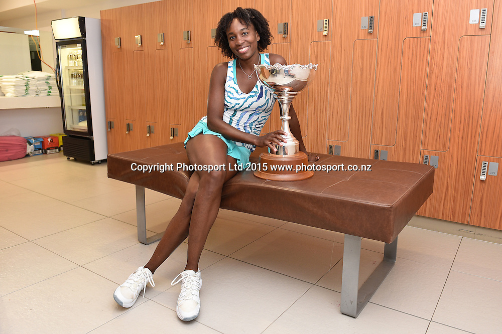 USA's Venus Williams with the ASB Trophy in the players locker room after defeating Woznacki in the singles Final. ASB Classic WTA International. ASB Tennis Centre, Auckland, New Zealand. Saturday 10 January 2015. Copyright photo: Andrew Cornaga/www.photosport.co.nz