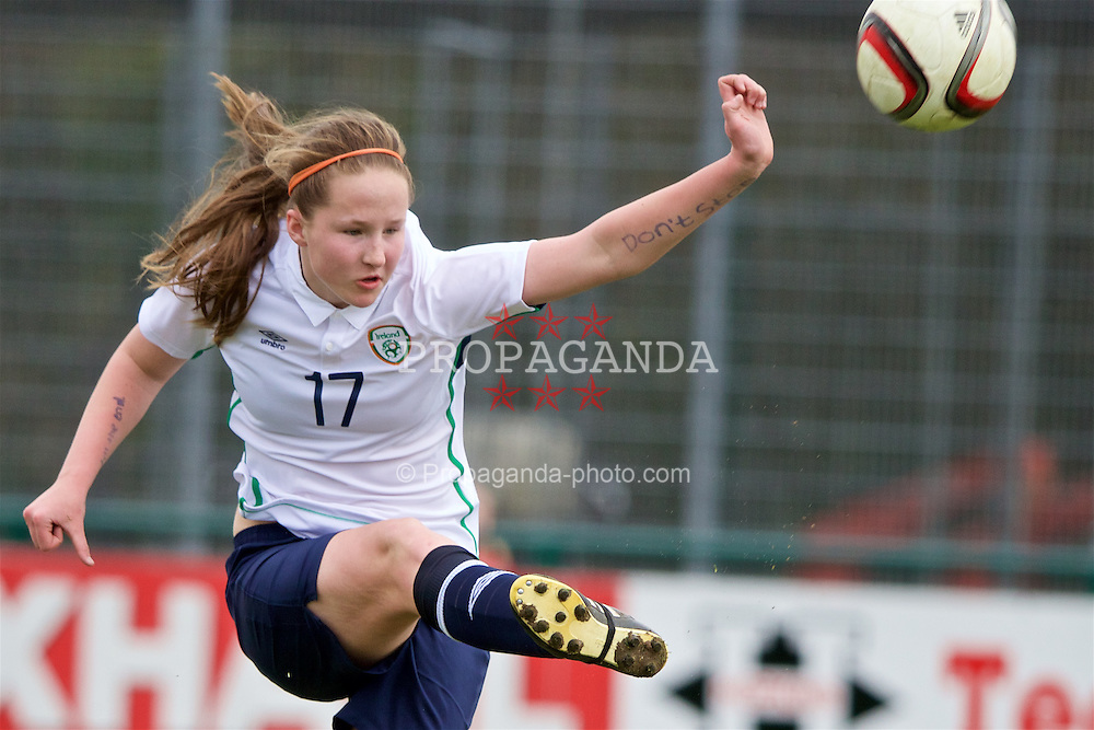 NEWPORT, WALES - Monday, April 4, 2016: Republic of Ireland's Aisling Spillane in action against England during the Final on day four of the Bob Docherty International Tournament 2016 at Dragon Park. (Pic by David Rawcliffe/Propaganda)