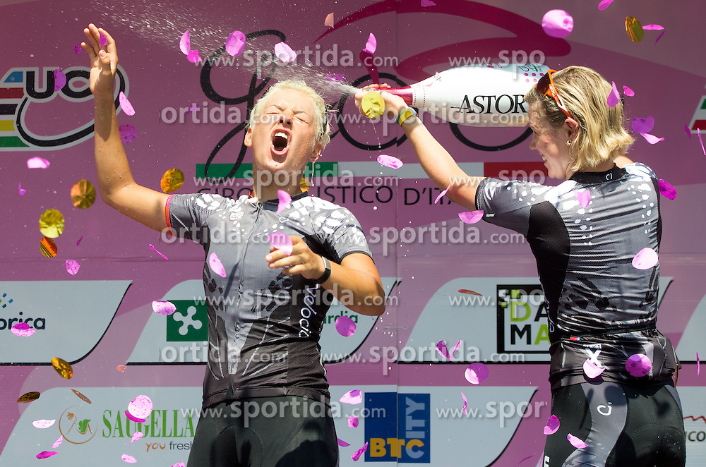 Winner Barbara Guarischi (ITA) of Velocio - SRAM team   and third placed Tiffany Cromwell (AUS) of Velocio - SRAM team during flower ceremony after the Stage 1 (102,5 km) from Kamnik to Ljubljana at 26th Giro Rosa 2015 Women cycling race, on July 4, 2015 in BTC City, Ljubljana,  Slovenia. Photo by Vid Ponikvar / Sportida