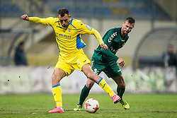 Ivan Firer of Domzale vs Denis Mojstrovic of Krka during football match between NK Domzale and NK Krka in Semifinal of Slovenian Football Cup 2016/17, on April 4, 2017 in Sports park Domzale, Slovenia. Photo by Vid Ponikvar / Sportida