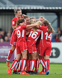Goal scorer Olivia Fergusson is mobbed by her Bristol City Women team mates - Mandatory by-line: Paul Knight/JMP - 24/09/2016 - FOOTBALL - Stoke Gifford Stadium - Bristol, England - Bristol City Women v Durham Ladies - FA Women's Super League 2