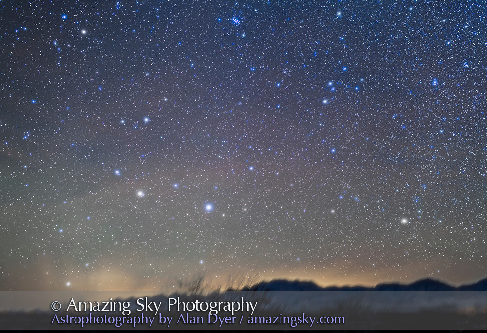 The constellations of Leo and Hydra rising in the east on a mid-December night from southern Arizona at about midnight. Leo is partly risen at left and Hydra at right with the head of Hydra at top right. At top centre is the Beehive Cluster, M44, and small M67 below it, both in Cancer. The cluster at far right is M48. Regulus is at lower left and the bright star at lower right in Alphard in Hydra.<br /> <br /> This is a stack of 5 x 2 minute exposures at f/2.5 with the 35mm lens and Canon 5DMkII at ISO 1600, plus a sixth frame shot thru the Kenko Softon filter for the star glows. Shot for use in SkyNews as an illustration.