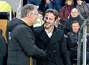 Hull City Manager Nigel Adkins and Thomas Christiansen Head Coach of Leeds United  during the EFL Sky Bet Championship match between Hull City and Leeds United at the KCOM Stadium, Kingston upon Hull, England on 30 January 2018. Photo by Paul Thompson.