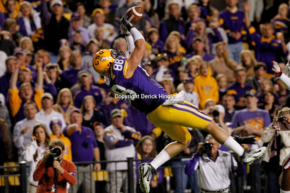 November 12, 2011; Baton Rouge, LA, USA; LSU Tigers tight end Chase Clement (88) catches a pass against the Western Kentucky Hilltoppers during the second quarter of a game at Tiger Stadium.  Mandatory Credit: Derick E. Hingle-US PRESSWIRE