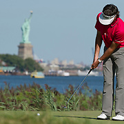 August 25, 2013:  Bubba Watson (USA) puttsl on the 14th green in front of The Statue of Liberty during the final round of The Barclays Fed Ex Championship at Liberty National Golf Course in Jersey City, NJ.  Kostas Lymperopoulos/csm  (Credit Image: © Kostas Lymperopoulos/Cal Sport Media)