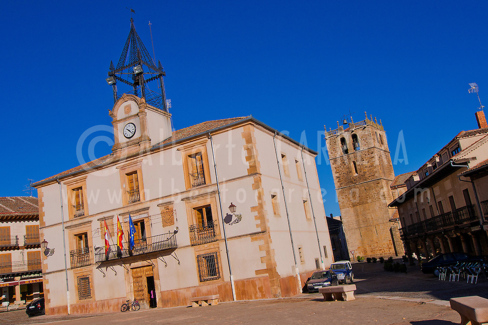Alberto Carrera, City Hall, Main Square, Riaza, Mediaeval Village, Segovia, Castilla y León, Spain, Europe.