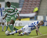 Photo: Aidan Ellis.<br /> Huddersfield Town v Yeovil Town. Coca Cola League 1. 29/04/2006.<br /> Huddersfield's Andy Booth loses out to Yeovil's Craig Rocastle