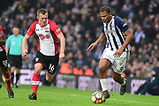 West Bromwich Albion striker Saloman Rondon (9) sprints forward with the ball under pressure from Southampton midfielder James Ward-Prowse (16) during the Premier League match between West Bromwich Albion and Southampton at The Hawthorns, West Bromwich, England on 3 February 2018. Picture by Dennis Goodwin.