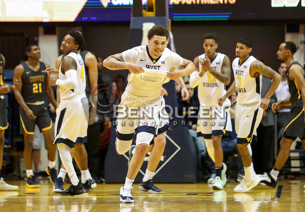 Dec 20, 2017; Morgantown, WV, USA; West Virginia Mountaineers forward Teddy Allen (13) celebrates after making a basket during the first quarter against the Coppin State Eagles at WVU Coliseum. Mandatory Credit: Ben Queen-USA TODAY Sports