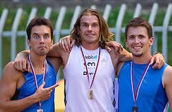 Jure Batagelj, Jurij Rovan and Matej Rupar at medal ceremony after the Pole vault at Slovenian National Championships in athletics 2010, on July 17, 2010 in Velenje, Slovenia. (Photo by Vid Ponikvar / Sportida)
