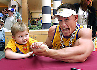 HANOVER, MA.WWE SmackDown! Superstar and West Newbury, MA, homeboy John Cena is bested in an arm-wrestling competition by 3-year-old  Thomas Long of South Boston during an appearance at the Hanover Mall, before Cena and the rest of WWE's SmackDown! Superstars displayed their bulk and brawn at the South Shore Music Circus and Cape Cod Melody Tent.