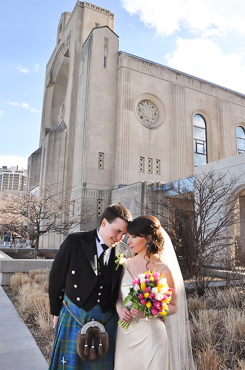 Kathleen & Brendan in front of the Madonna della Strada Chapel, Loyola University Chicago