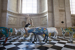 © Licensed to London News Pictures. 30/08/2013. London, UK. 25 life-size painted donkeys created by Egyptian artists are seen in St Paul's Cathedral in London today (30/08/2013).  The donkeys, created to reflect the common identity of Egyptians, regardless of religion, since the 2011 revolution, are on show to visitors to the cahedral. Photo credit: Matt Cetti-Roberts/LNP