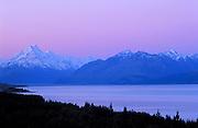 Lake Pukaki and Mount Cook at sunset. south island, new zealand.1999