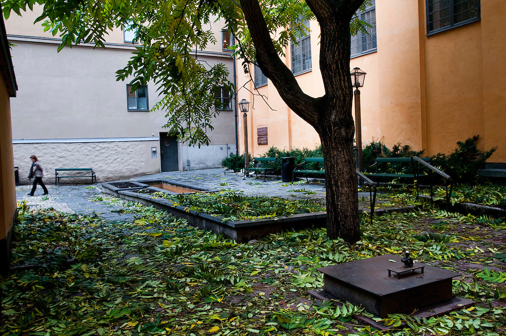 """The iron boy"" - a very small sculpture in Gamla stan - The Old town - behind the Finnish church"
