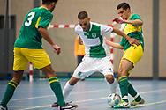 Zaalvoetbal Gouda Eerste Divisie 2014-2015 Watergras - ZVV Den Haag: Anouar Attal Haoui van Watergras (groen wit)