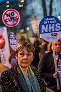 A Budget Day  protest against cuts and austerity is supported by Caroline Lucas  (pictured), Green Party, John McInally - National vice president of the PCS union, CND and various student bodies.  At the same time a petition is handed in to Downing Street. Opposite Downing Street in Whitehall, London, UK 19 March 2014.