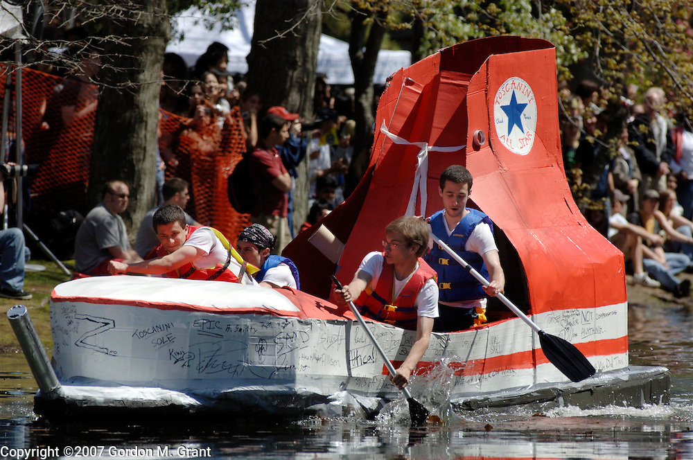 Stony Brook, NY - 050407 - Students at Stony Brook University in Stony Brook, NY participate in the annual Roth Pond Regatta May 5, 2007. Participants boats are made from cardboard and duct tape.    (Photo by Gordon M. Grant)