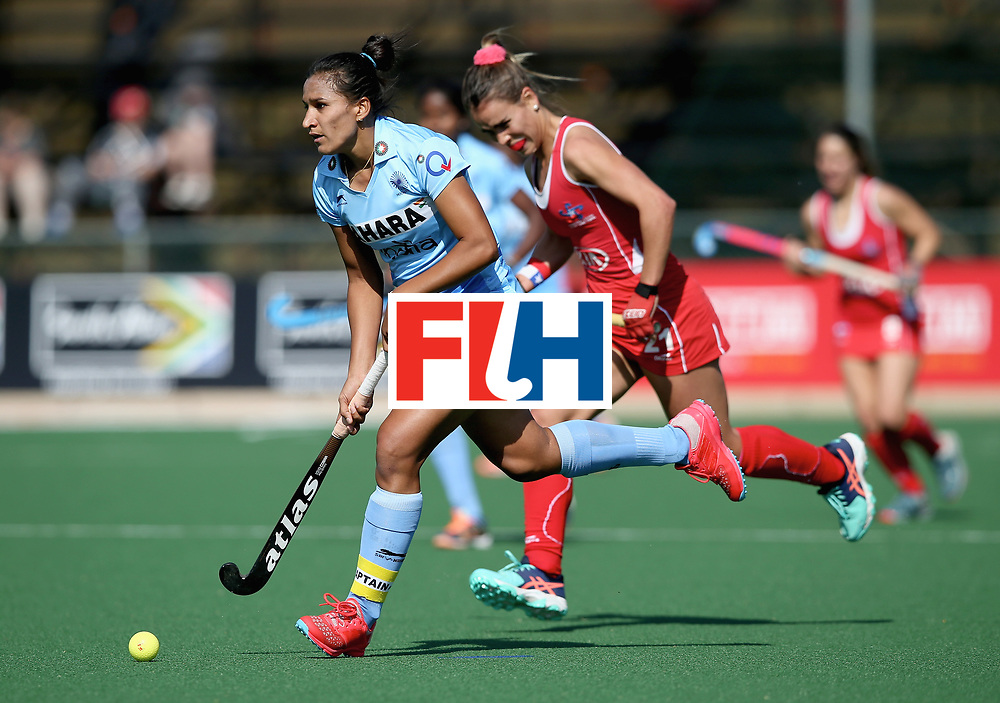 JOHANNESBURG, SOUTH AFRICA - JULY 12: Rani of India in action during day 3 of the FIH Hockey World League Semi Finals Pool B match between India and Chile at Wits University on July 12, 2017 in Johannesburg, South Africa. (Photo by Jan Kruger/Getty Images for FIH)