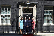 © Licensed to London News Pictures. 24/07/2012. Westminster, UK SAMANTHA CAMERON, JOHN MAJOR, DAVID CAMERON, NORMA MAJOR. The British Prime Minister David Cameron hosts a lunch today 24th July 2012 at Downing Street for HM The Queen and the Duke of Edinburgh with the Deputy Prime Minister and past Prime Ministers, Sir John Major, Tony Blair and Gordon Brown. Photo credit : Stephen Simpson/LNP