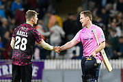 Middlesex win - Eoin Morgan of Middlesex shakes hands with Tom Abell of Somerset during the Vitality T20 Blast South Group match between Somerset County Cricket Club and Middlesex County Cricket Club at the Cooper Associates County Ground, Taunton, United Kingdom on 30 August 2019.