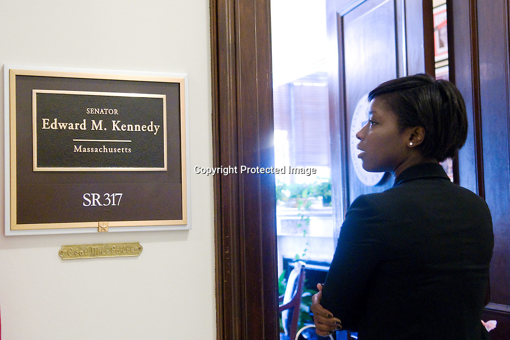 26 August 2009-WashingtonDC- A senate staff member visits the office of the late Senator Ted Kennedy(D-MASS) in the Russell Senate Office Building on Capitol Hill in Washington DC on August 26, 2009. Senator Kennedy passed away from brain cancer late Tuesday night. Photo Credi: Kris Connor/Sipa Press