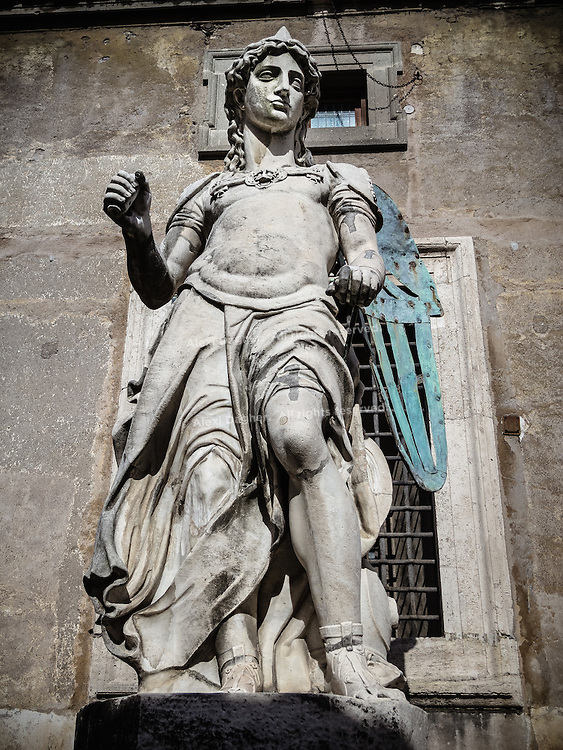 The statue of Archangel Michael  -  Castel Sant'Angelo, Rome, Italy 2014