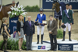 Peneloppe Leprevost, (FRA) second placed of the Longines FEI World Cup™ Jumping Final during the prize giving with Steffie Graf and Juan Carlos Capelli, Vice president Longines<br /> Las Vegas 2015<br />  © Hippo Foto - Dirk Caremans<br /> Final III round 2 20/04/15