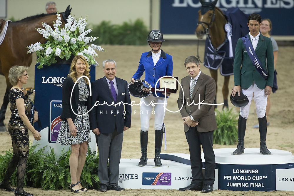 Peneloppe Leprevost, (FRA) second placed of the Longines FEI World Cup&trade; Jumping Final during the prize giving with Steffie Graf and Juan Carlos Capelli, Vice president Longines<br /> Las Vegas 2015<br />  &copy; Hippo Foto - Dirk Caremans<br /> Final III round 2 20/04/15