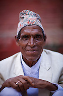 Nepalese man wearing a traditional Topi Hat, Durbar Square, Kathmandu, Nepal
