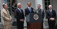 President Barack Obama announces the appointment of General David Petraeus to be commander of Western Forces in Afghanistan.(Admiral Michael Mullen, Chairman of the Joint Chiefs of Staff, Vice President Joseph Biden Jr. President Obama, General David Petraeus, Secretary Robert Gates, Department of Defense.  Photograph by Dennis Brack
