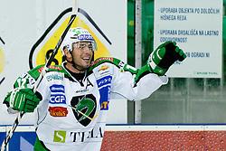 Petr Sachl (HDD Tilia Olimpija, #12) celebrate goal during ice-hockey match between HDD Tilia Olimpija and Moser Medical Graz 99ers in 2nd Round of EBEL league, on September 15, 2011 at Hala Tivoli, Ljubljana, Slovenia. (Photo By Matic Klansek Velej / Sportida)