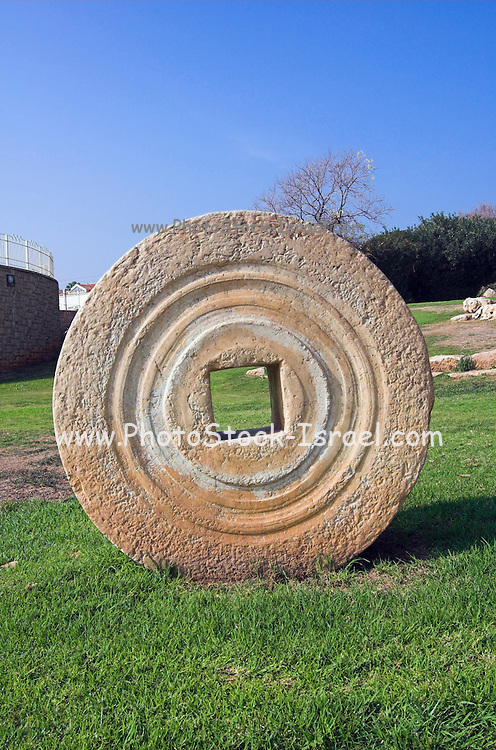 Herzelia city park, with ancient grindstones on display Herzelia city park, with ancient grindstones on display. Hertzelia, A small town north of Tel Aviv, has a big hi tec industrial park, a resort area with hotels yacht club and a marina and crusade ruins of Apolonia. December 2005