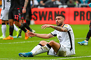 Swansea City forward Borja González (9) looks to the referee's assistant to appeal a foul during the EFL Sky Bet Championship match between Swansea City and Stoke City at the Liberty Stadium, Swansea, Wales on 5 October 2019.