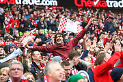 Lincoln City fans celebrate during the EFL Trophy Final match between Lincoln City and Shrewsbury Town at Wembley Stadium, London, England on 8 April 2018. Picture by John Potts.