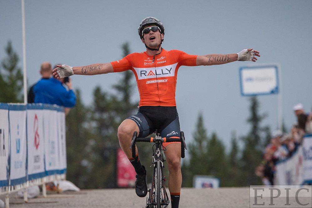 JASPER, ALBERTA, CAN - September 1: Evan Huffman (Rally Cycling) wins stage 1 of the Tour of Alberta on September 1, 2017 in Jasper, Canada. (Photo by Jonathan Devich)