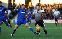 Jack Marriott of Peterborough United in action with Barry Fuller of AFC Wimbledon - Mandatory by-line: Joe Dent/JMP - 12/11/2017 - FOOTBALL - Cherry Red Records Stadium - Kingston upon Thames, England - AFC Wimbledon v Peterborough United - Sky Bet League One