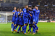 Cardiff City players celebrate with goal scorer Kenneth Zohore (in c) after he scores his teams 1st goal. EFL Skybet championship match, Cardiff city v Leeds Utd at the Cardiff city stadium in Cardiff, South Wales on Tuesday 26th September 2017.<br /> pic by Carl Robertson, Andrew Orchard sports photography.