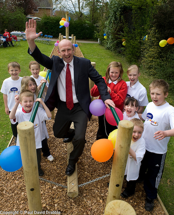 Thrybergh Fullerton Church of England Primary School receive Supergrounds investment from Royal Bank of Scotland, John Heeley with members of the school council..26 April 2010. Images © Paul David Drabble.