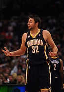 Mar. 6 2010; Phoenix, AZ, USA; Indiana Pacers forward Josh McRoberts (32) reacts during the first half at the US Airways Center. The Suns defeated the Pacers 113 to 105. Mandatory Credit: Jennifer Stewart-US PRESSWIRE.
