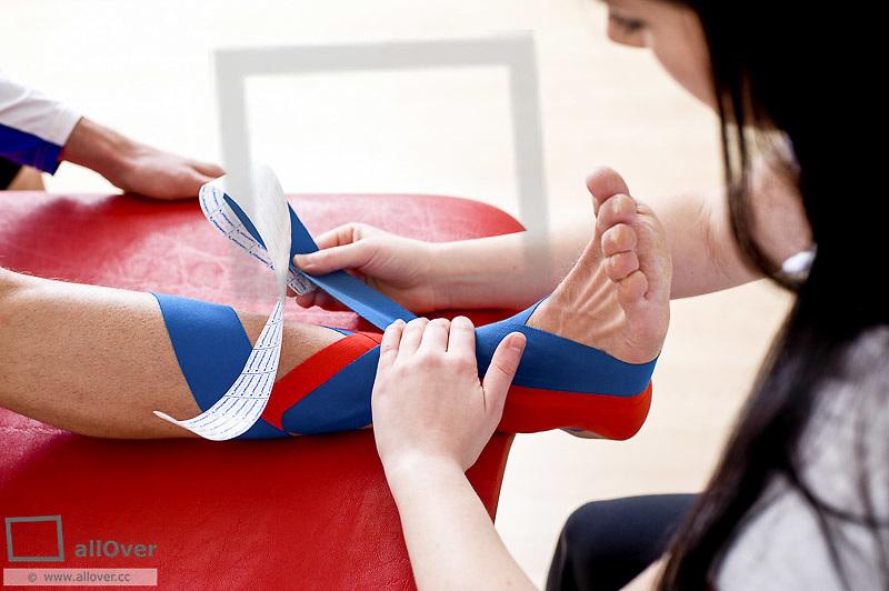Kinesiotape, stabilisation ankle, supination trauma (model-released)